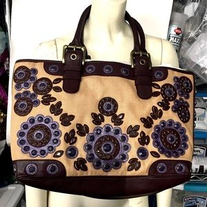 Isabella Fiore Canvas Flower Crystal Tote Bag